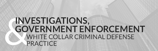 Investigations, Government Enforcement & White Collar Criminal Defense Practice